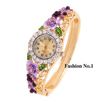 australia stainless steels - Hot Sale Fashion Gold Plated Australia Crystal Watch color Flower lace Shining fashion watch Wristwatch