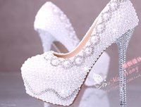 ballet shoe sizing - Fashion White Pearl Crystal Bridal Shoes CM CM CM Slimmer High Heel Wedding Shoes Platform Evening Prom Party Women Shoes US Size