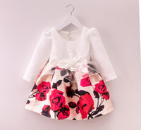 flower girl dress party - 2015 Princess Babies Girls Jacquard Flower Patchwork Party Dresses Western Long Sleeve Fall Christmas Casual Fashion Dresses