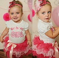 baby girl sets of clothes - Kids Clothes Summer Baby Girls Sets Fashion Printed Flowers T shirts Layers Of Lace Tutu skirts set MC