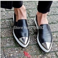 Wholesale M women s genuine leather flats mental cap toe leather skate shoes loafer slip on espadrilles flats