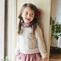 Cheap 2014 Autumn New korean children long sleeve T-shirt girls round collar lace Pocket princess tops brand kids clothing white blue gray A4960