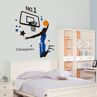 art player - Wall Stickers Sports Basketball Player Dunk Wall Decal Sticker For Living Room Decoration Vinyl PVC Art For Kids