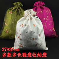 Hotel sachet bag - Fashion Embroidered Travel Shoe Covers Sock Lingerie Storage Bags Satin Reusable Drawstring Packaging Pouch with Lined Mix Color