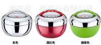 apple shaped boxes - High Quality stainless steel apple shape ML thermal lunch pot box with cover and handle keep warm hours