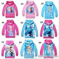 Girl Spring / Autumn Hooded 9 colors 2014 Frozen Baby Girls 2-8Yrs Elsa Anna Princess Hoodie Long Sleeve Terry Hooded Jumper Cartoon Hoodies Outerwear Kids Clothing