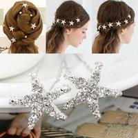 Wholesale Lovely Starfish Wedding Bridal Bridesmaid Hairpins Crystal Rhinestone Hair Pins Clips Women Hairpins Hair Accessories CPA491
