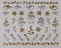 Wholesale Christmas Nail Art Stickers D Gold Silver Metal Snowflake Christmas Tree Dropshipping Nails d metal decals