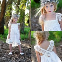 Wholesale Boho Flower Girl Dresses For Wedding With Lace Spaghetti Strap Criss Cross Back Tea Length Girl Pageant Resses For Cheap