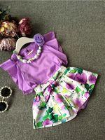 Cheap 2015 summer New children outfits girls shourlderless short sleeve tops +floral printed shorts +flowers necklace 3 pcs Set kids clothes A6837