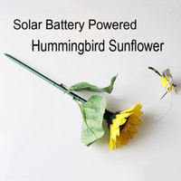 solar hummingbird - Solar Battery Powered Fluttering Hummingbird Sunflower Feather Wings and Tails Garden Yard Decoration best gift D709L