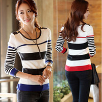 animal print knitwear - 2015 Fashion Tops For Women Plus Size Full Sleeve O Neck Striped Women T Shirt Knitwear