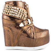 Wholesale Bronze Womens Punk Boots Wedge Ankle Length Platform Women Shoes Pumps Metal Panel Buckle New Design Girls Casual Dress Shoe Stiletto Heel