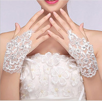 Wholesale New Korean Fashion Wrist Flower Lace Diamond Bridal Gloves Wedding Gloves Dress Short Paragraph Mitts