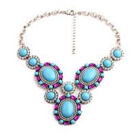 Wholesale Blue Diamond Purple Pendant Necklaces Popular European Fashion Brand Women Jewelry Personality Gemstone Factory High Quality Promotion