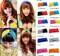 Wholesale 2015 Women s Twist Knot Headbands Fashion Panelled Yoga Headwraps Lady hair jewelry headwrap beach accessroies