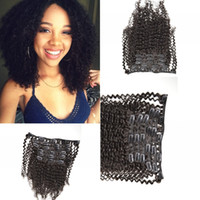 afro beauty - 3a b c a b c Human hair clip in hair extension A Indian virgin afro kinky curly human hair hot beauty hair
