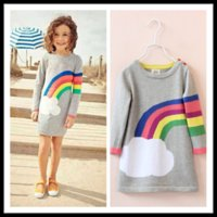 Wholesale 2015 Autumn Children Clothing Girl Long Sweaters Kids Rainbow Long Sleeve Cotton Knitted Shirt Children Pullover A11C0F