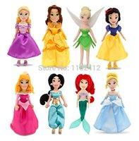 belle soft - Original Princess Dolls Rapunzel Little Mermaid Ariel Cinderella Snow White Tinker Bell Belle Jasmine Merida Tiana Plush Toys