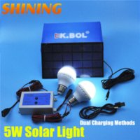 Wholesale DC Home Traveling Camping Outdoor Indoor Solar Panel Powered W LED Light Bulb Lamp Home Lighting System Kit