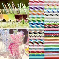 Wholesale Multicolour Stripe Eco Friendly Paper Straw Birthday Wedding Party Supplies