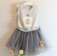 Cheap 2015 Summer Kids Casual Outfits Tank Lace Printed Cotton T-shirt + Short Tulle Skirt 2pcs Set Children Girls Party Clothing Set Gray M2973