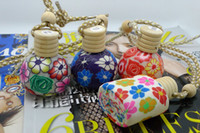 Cheap free shipping ! Mini Aroma Vials Empty Glass Bottle Essential Oil Pendants Ceramics Bottles Cork Stopper lucky pendant