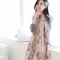 bali chains - spring and autumn scarf female long scarf chain clock pattern print bali yarn silk scarf cape