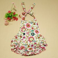 baby sunsuits - baby clothes Blossom Floral Halter Bubble Romper Baby Romper Girls SunSuits for toddler new romper pattern