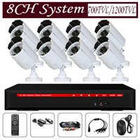 Cheap 8ch digital video recorder dvr kit cctv camera system security surveillance white bullet camera 3.6mm lens 24leds free shipping