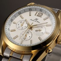 atm cases - KS Brand White Dial Gold Stainless Steel Case ATM Waterproof Analog Full Steel Band Automatic Mechanical Wrist Men Dress Watch KS189