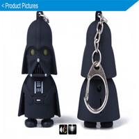 Wholesale Christmas gifts Star Wars Darth Vader Keychain Accessories LED Luminous Music light sound keyring Creative Chain Key flashlight Pendant