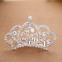 Wholesale New Girl Shining Diamond Princess Headwear Crown Hair comb hoop inserted comb type Girls Head Pieces Alloy crown Girl Small Christmas