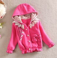 Wholesale Autumn Winter Baby Girls Coat Hooded Lace Collar Buttons Children Girls Outwear Bow Pocket Kids Jacket New Korean Girls Clothing L0543