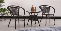 wicker furniture - Rattan outdoor furniture tea tables and chairs Cane three piece tea table Garden furniture cafe tables and chairs suite