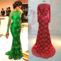 Wholesale 2015 Cheap Vestido Red Carpet Miss Nigeria Gorgeous Prom Dresses Green Lace Sheer Scoop Long Sleeves Mermaid Formal Celebrity Evening Gowns