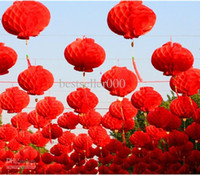Wholesale 2015 New quot CM Red Chinese Paper Lanterns Wedding festival Birthday Party Floral Home Decoration