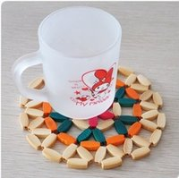 bamboo place mats - Novelty household daily necessities Bamboo Table Desk Cup Pad Place mat Tableware Mat Coaster New