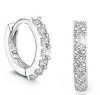 Wholesale Top Grade Silver Earrings Hot Sale Crystal Hoop Huggie Earrings for Women Girl Wedding Party Jewelry WH