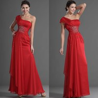 prom dresses 2012 - Dancing Gown Tailored Fashion One Shoulder A line Crystal Beaded Red Chiffon Long Prom Dresses