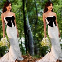 Wholesale White Lace Sheath Wedding Dresses Nancy Ajram Arabian Formal Party Dresses Big Black Bow Muslim Bridal Gowns Strapless Custom Made