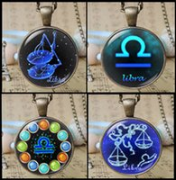 Wholesale fashion designs libra necklace zodiac symbol pendant jewelry vintage astrological sign gift cute glass star sign charm