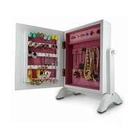 Wholesale Tabletop Mini Jewelry Box Wooden Jewelry Armoire Box With Mirror Home Furniture USA warehouse