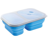 Wholesale Silicone Food Container Rooms Silicone Folding Food Box With Spoon Fork Locked Fruit Story Case Portable Oven Safe