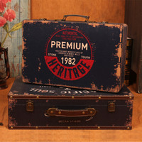 antique wooden suitcase - New retro suitcase antique to do the old wooden storage box finishing filming props window display