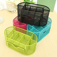 Wholesale New Metal Mesh Desk Organizer Pen Holder Oval Grid Colorful Desktop Storage Sorting Box Cosmetic Student Home Office Supplies