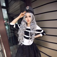 Wholesale Costume Womens Long Curly grey Wavy Hair Cosplay Anime Full Wigs CM