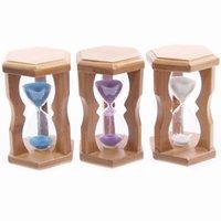 glass table clock - Gift Quadros Decorativos horloge sable sandglass Hexagon Bamboo Hourglass Sand Glass Clock Timer Table Decoration Ampulheta