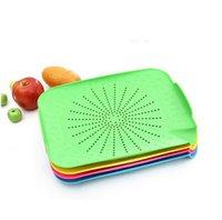 Wholesale Dish Candy colored super kitchen Drain pan Plastic Drain Plates Fruits and vegetables dish Random color cm g H