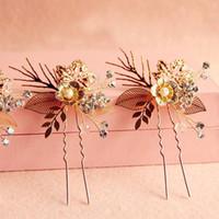 antique hair brush - Golden Bridal Hair Jewelry Accessories Handmade Crystal Shiny Pearls Fashion Hair Brush High Quality Luxury Hair Pins HM08